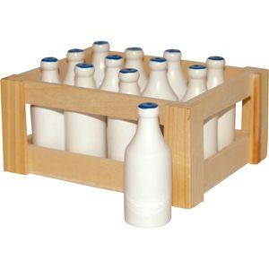 Small Foot 7062 Milchflaschen-Set aus Holz, für den Kaufladen, weiß, 12-teilig (1 Set)