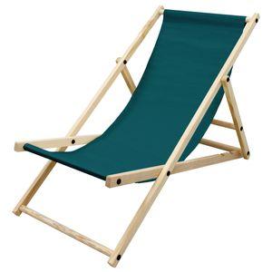 ECD Germany Liegestuhl klappbar aus Holz, 3 Liegepositionen, bis 120 kg, Dunkelgrün, Sonnenliege Gartenliege Relaxliege Strandliege Liege Strandstuhl Klappstuhl, für den Garten, Terrasse und Balkon
