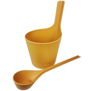 SudoreWell® Sauna Set mit Saunakübel 5 Liter und Saunakelle aus Curryfarbenden ökologischem Biokomposit by Rento