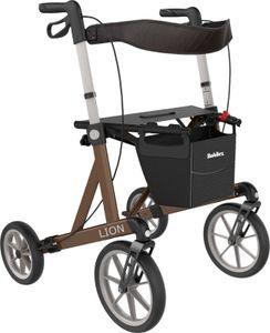 FabaCare Outdoor Rollator Lion, Premium Leichtgewichtrollator mit Spezialbereifung für Gelände, faltbar, bis 200 kg, Braun Metallic, Sitzhöhe 62 cm