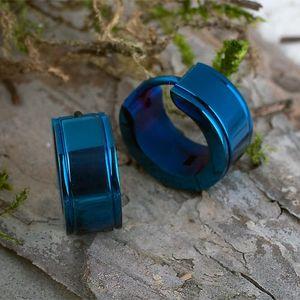 Männer Ohrringe: Edelstahl Herren Creolen blau