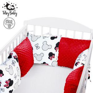 Polster Gitterbett 6 Kissen Baby Nestchen Kissen Babybett Bettumrandung Umrandung (Rot und Mäuschen, 6 Kissen: 30x30 cm)
