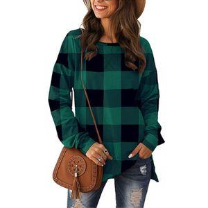 Lässiges, langärmeliges, locker kariertes T-Shirt für Damen,Farbe: Grün,Größe:XXL