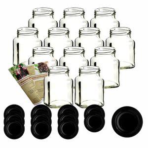 12er oder 24er Set gouveo 350 ml Einmachgläser Quadrat incl. Deckel und Flaschendiscount-Rezeptbroschüre, Deckelfarbe:Schwarz, Setgröße:12er Set