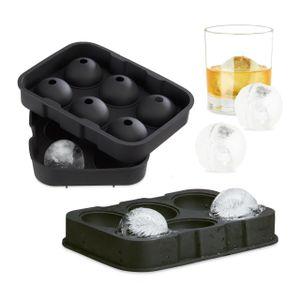 relaxdays 2x Eiskugelformen Silikon Eiswürfelform Eiswürfelbehälter Eiskugel Portionierer