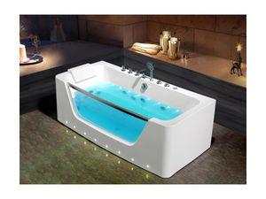 Whirlpool-Badewanne halb freistehend mit LED-Beleuchtung DYONA - Weiß
