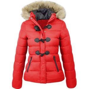 Mode Frauen Hooded Button Outwear Damen Warmer Mantel Lange gepolsterte Slim Jacke Größe:S,Farbe:Rot