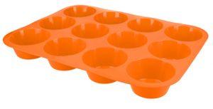 Muffinblech Muffinform aus Silikon Cupcake Muffin Backform Silikonform für 12 Muffins in Orange