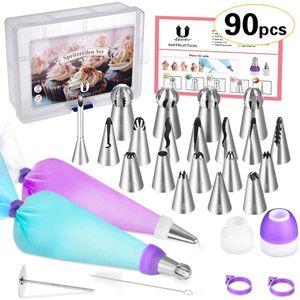 Teiliges Spritztüllen Set -  Edelstahldüsen + Silikon-Spritzbeutel +  Koppler, BackzubehörTorten Dekoration Set