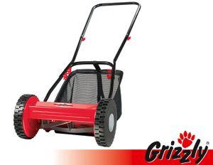 Grizzly Handrasenmäher HRM 300-3 mit Fangsack, Spindelmäher Handbetrieb, 30 cm Schnittbreite, stufenlose Höhenverstellung, wartungsfreie Messerwalze