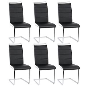 6er Set Esszimmerstühle Stühle  Freischwinger Stühle Bow Esstischstuhl Küchenstuhl Barstuhl - hohe Rückenlehne, Schwarz+weiß