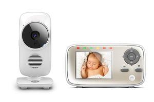 Motorola MBP483 Babyphone mit Kamera - 2,8-Zoll-Farbbildschirm - Nachtsicht - 2-Wege-Kommunikation - weiß