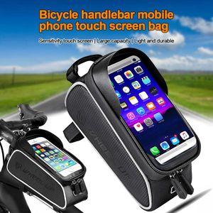 Multifunktions-Fahrrad-Rahmentasche Oberrohrtasche wasserdicht Smartphone Handy-Halterung Tasche für MTB Fahrrad 6,0'' Handy