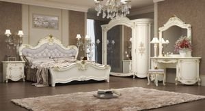 Barock Schlafzimmer Adriana in Beige 7-Teilig