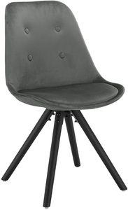 WOLTU 1 Stück Esszimmerstuhl, Sitzfläche aus Samt, Design Stuhl, Küchenstuhl, Holzgestell, Dunkelgrau