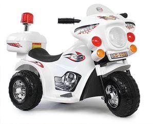 Kindermotorrad Polizei Motorrad Elektromotorrad Musik mit Sound und Sirene in Weiß (LQ998)