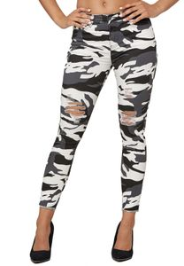 Damen Skinny Stretch Jeans High Waist Destroyed Fransen Design Röhren Hose Camo Tarnmuster, Farben:Dunkelgrau, Größe:38