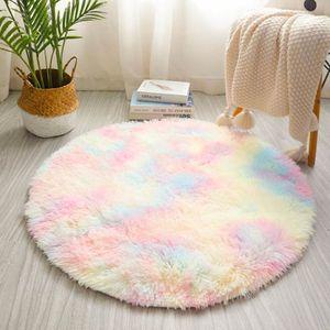 Regenbogen-bunter flaumige Mädchen rund Teppich Schlafzimmer Dekoration Plüschteppich Prinzessin Stil Bettvorleger