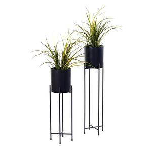 Blumentopfgestell 2er Set inkl. Töpfe - Farbe: schwarz