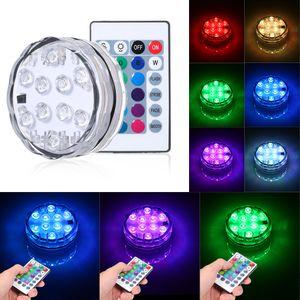Teichbeleuchtung Unterwasser Licht, Led Unterwasserleuchten Magnetisch Wasserdichtes Licht mit Fernbedienung,  IP68, 10 LEDs Farbwechsel LED Unterwasser Festival Dekolichter (1Stück)