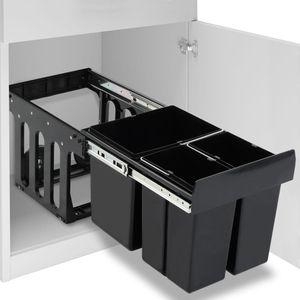 vidaXL Abfallbehälter für Küchenschrank Ausziehbar Soft-Close 48 L