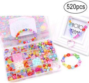 DIY Perlen Set,520 Stück DIY Armband Perlen Set Handgemachte Bunte Acryl Bastelperlen Kit Box mit Zubehör für Mädchen Kinder, 24 Stil