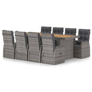 9-teiliges Outdoor-Essgarnitur Garten-Essgruppe Sitzgruppe Tisch + stuhl mit Auflagen Poly Rattan Grau