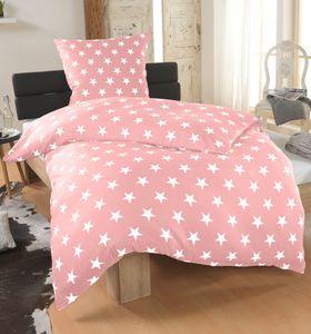 DreamHome 2 teilige Sterne Bettwäsche Bettbezug 135x200 und Kissenbezug 80x80 , Farbe:Rosa