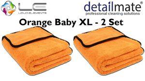 2 Stück Set  Orange Baby XL - Mikrofaser Trockentuch, 90 x 60 cm, Liquid Elements Extra großes Trockentuch für die schonende Fahrzeugpflege