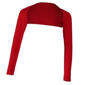 Damen Bolero Langarm Top Strickjacke Langen Ärmeln Schulterjacke islamischen Muslim Hijab rot Einheitsgröße Armabdeckung Zucken