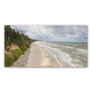 Tulup Leinwand-Bilder 140x70 Wandbild Canvas Kunstdruck Strand Meer Baum Natur