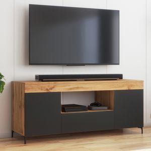 Selsey Fernsehschrank GUSTO - modernes TV-Lowboard in Lancaster Eiche / Schwarz Matt, stehend, 137 cm breit