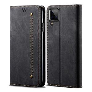 Galaxy A12 5G Hülle, LaimTop Leder Brieftasche Flip Bookstyle Schutzhülle mit Standfunktion für Samsung Galaxy A12 5G Schwarz