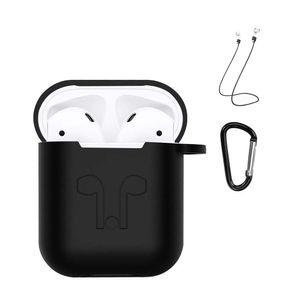 Apple AirPods 3in1 Silikon Hülle Kopfhörer Schutzhülle inkl. Band und Anhänger Schwarz