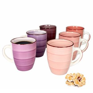 6er Set Lila Baita Kaffeebecher Violett 350ml mit Henkel Trinkbecher Tasse Pott