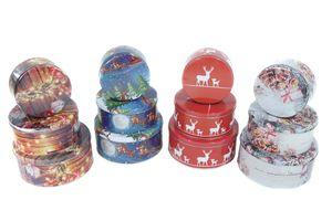 Plätzchendose Gebäckdose Blechdosen weihnachtlichen Motiven 3 Stück Set mit Motivauswahl, Farbe:Gold