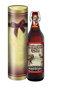 Weihnachts-Bier - Weihnachts-Bier 1 Liter Flasche mit Bügelverschluss (mit Geschenkdose im Schleifendesign)