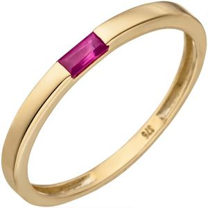 JOBO Damen Ring 50mm 375 Gold Gelbgold 1 Rubin Goldring Rubinring