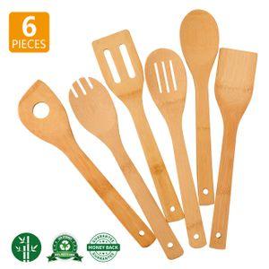 Küchenhelfer Küchenutensilien Küchenzubehör Pfannenwender Kochlöffel - 6 Stück Set aus Bambus Holz