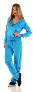 Damen Nicki Freizeitanzug Hausanzug Jogginganzug, Blau L