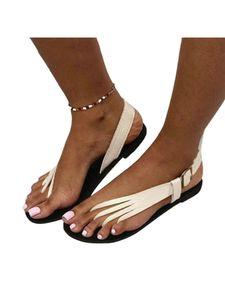 Damen Sandalen Mit Flacher Schnalle Hohle Atmungsaktive Freizeitschuhe,Farbe:Weiß,Größe:41