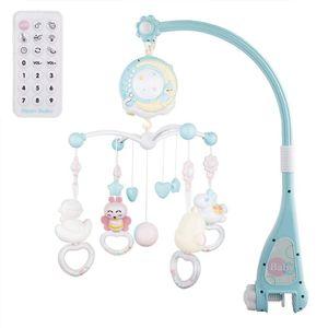 Baby Mobile für Babybetten mit Musik, Crib Mobile mit Nachtlicht und Projektor, Fernbedienung und Spielzeug zum Packen und Spielen (Blau)