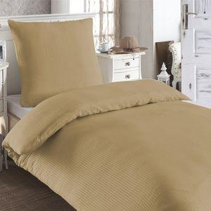 Moderne Hochwertige Microfaser Seersucker Bettwäsche 135x200 Kissenbezug Uni , Farbe:Sand