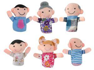 Fingerpuppen Set Familie 6 Stück Bunt Weich Stoff Theater Fantasie Kinder Babys 5957