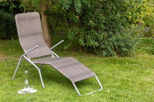 """Merxx Gartenliege """"Malta"""" XXL - Stahlgestell mit Kunststoffgeflecht grau - 28805-267"""