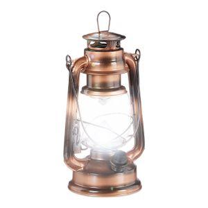 relaxdays 1 x Sturmlaterne, LED Petroleumlampe, elektrische Laterne, Campinglaterne kupfer