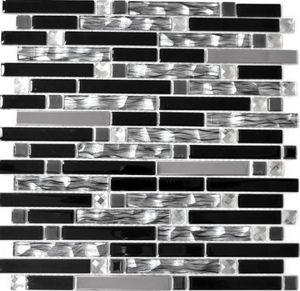 Mosaikfliese Transluzent Edelstahl schwarz Verbund Glasmosaik Crystal Stahl schwarz Glas MOS67-GV478_f | 10 Mosaikmatten