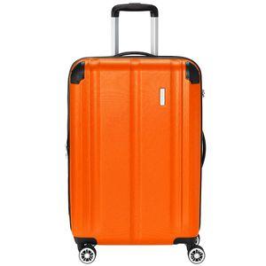 Travelite City 4 Rollen ABS Hartschalen Trolley 4 Rad Koffer 68 cm M, Farbe:Orange