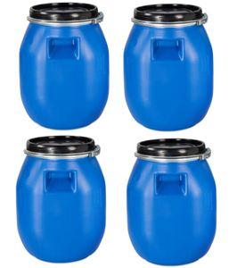 4 Stück 30 Liter Deckelfass, Kunststofffass, Futtertonne, Fass, Weithalsfass Farbe blau mit Griffmulde (4x30 DGM)