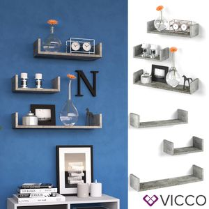 VICCO 3er Set Wandregal Hängeregal Bücherregal Wandboard Trend Regal Beton